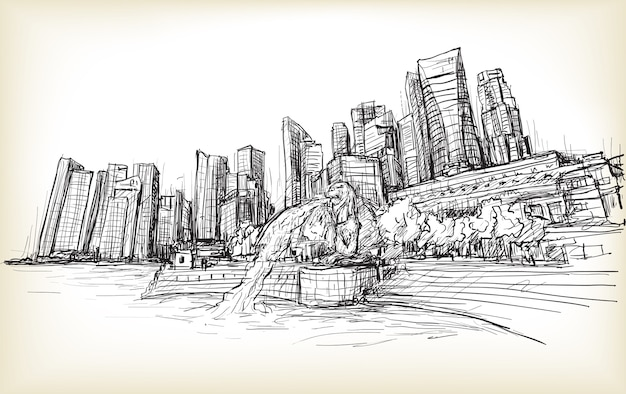 Schets stadsgezicht van de skyline van singapore Premium Vector