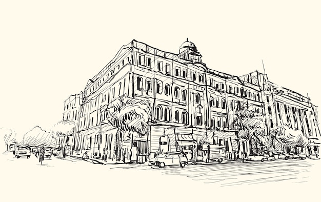Schets stadsgezicht van de stad yangon, myanmar tonen perspectief uitzicht koloniaal gebouw in het centrum, gratis hand tekenen illustratie vector Premium Vector