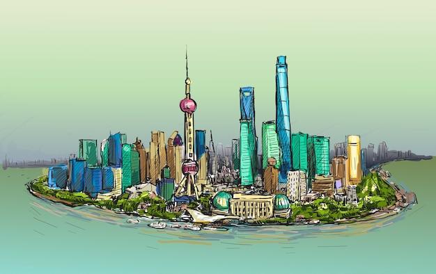 Schets stadsgezicht van shanghai skyline vrije hand tekenen illustratie Premium Vector