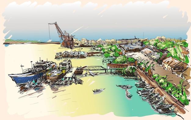 Schets stadsgezicht van yangon, de skyline van myanmar, show docks in pazundaung creek, vrije hand tekenen illustratie Premium Vector