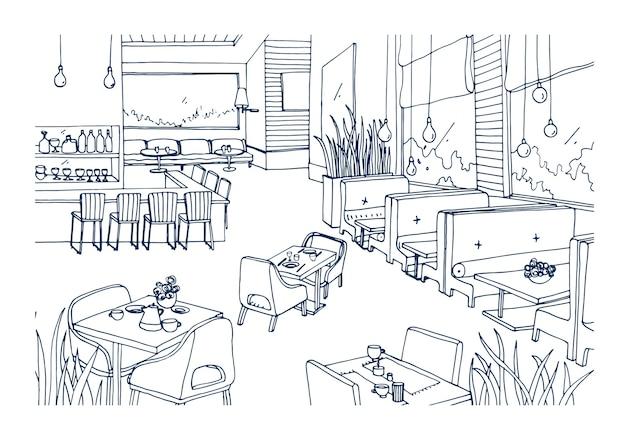Schets uit de vrije hand van gemeubileerd interieur van chique restaurant of bistro hand getekend met contourlijnen. ruwe tekening van modern café of koffiehuis. monochroom vectorillustratie. Premium Vector