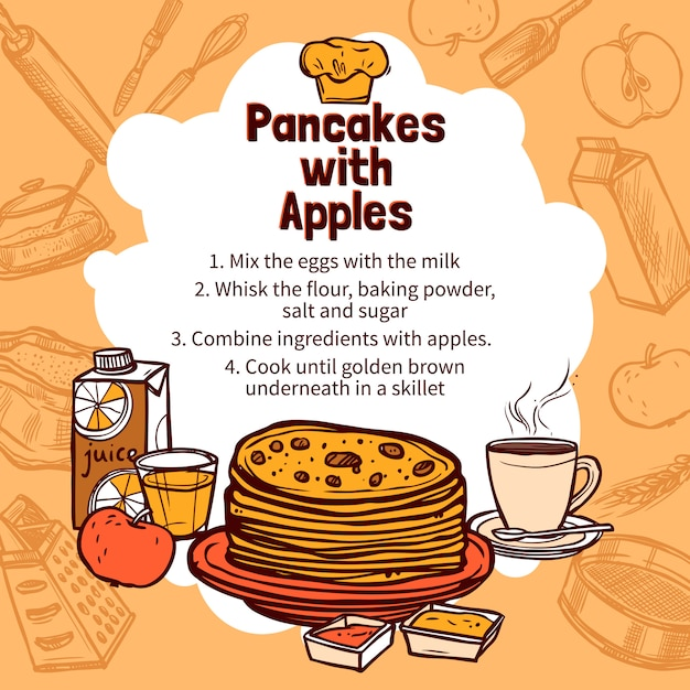 Schets van apple pancakes recept Gratis Vector