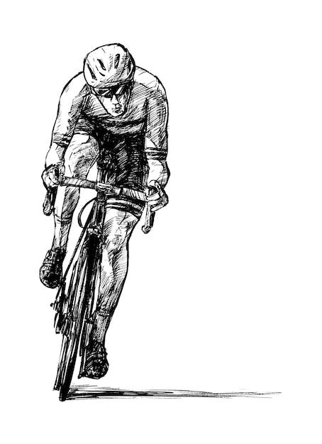 Schets van de weg fietser hand loting Premium Vector