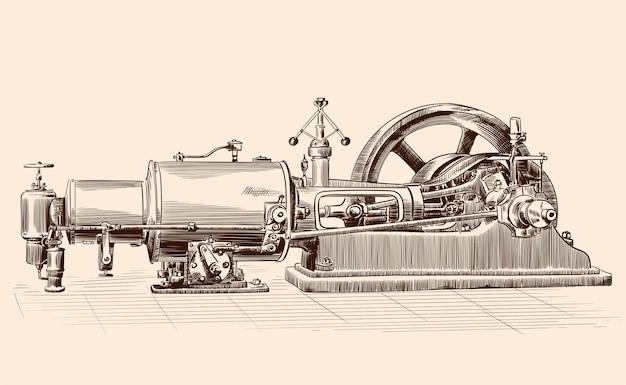Schets van een oude stoommachine met ketel, vliegwiel en zuigermechanisme. Premium Vector