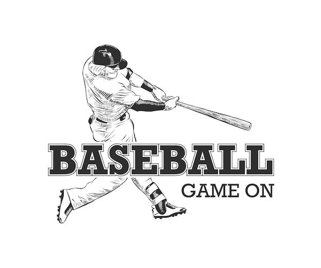Schets van honkbalspeler met typografie Premium Vector