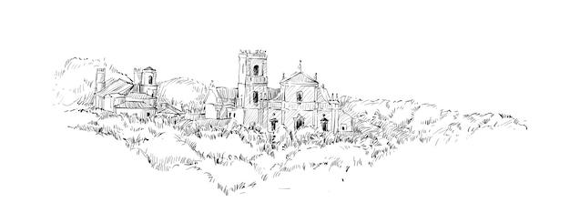 Schets van landschap toont india kerk katholiek oud gebouw, illustratie Premium Vector