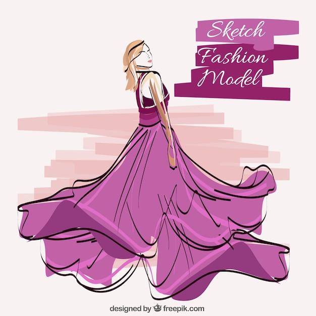 Schets van model draagt paarse jurk Gratis Vector