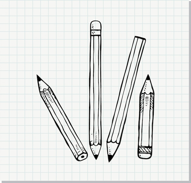 Schets van potlood in doodle stijl Premium Vector