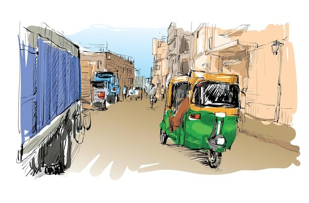 Schets van stadsgezicht in india tonen transport moto rickshaw, illustratie Premium Vector