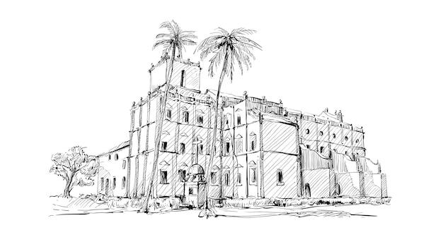 Schets van stadsgezicht india tonen kerk oud gebouw in kolkata Premium Vector