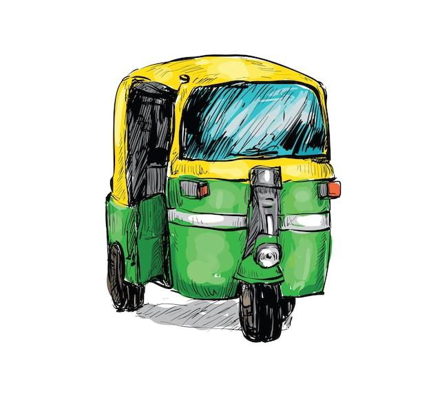 Schets van transport stad in india toont lokale taxi riksja geïsoleerd Premium Vector