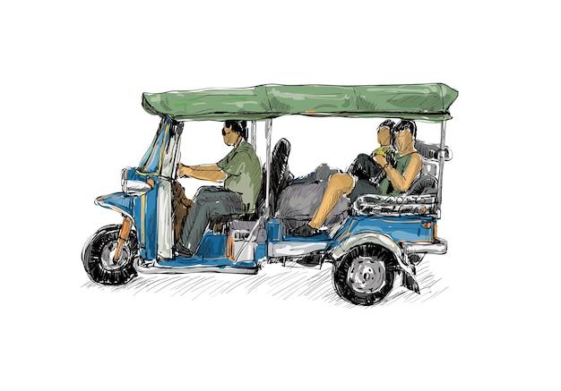 Schets van vervoer stad toon traditionele taxi moto tuk-tuk in thailand, illustratie Premium Vector