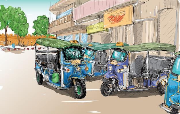 Schets van vervoer stad toon traditionele taxi motor driewieler in thailand, illustratie Premium Vector