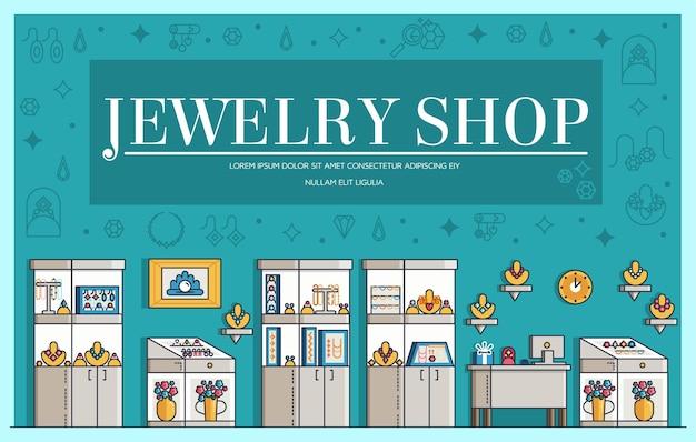 Schetsen het sieraden winkel pictogrammen illustraties Premium Vector