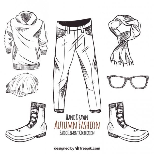 schetsen van de herfst kleding en accessoires vector