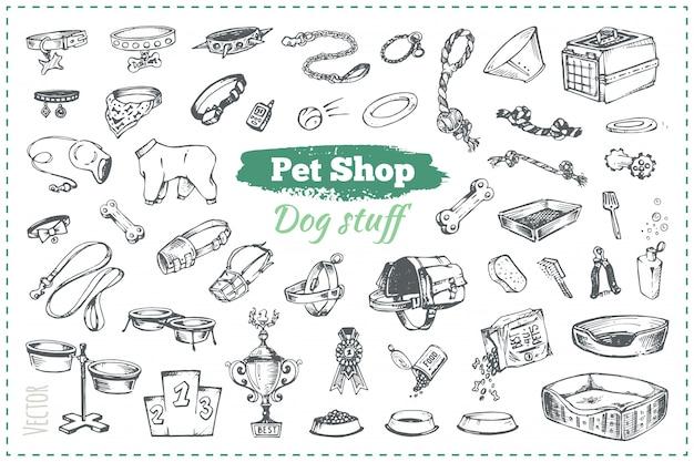 Schetsen van goederen in dierenwinkel voor honden en puppy's, hand getrokken vintage stijlillustraties Premium Vector