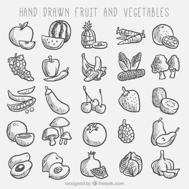 Schetsen van groenten en fruit collectie Gratis Vector