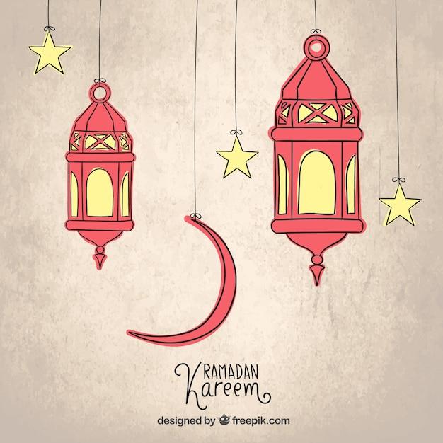 Schetsmatig arabisch lantaarns voor ramadan kareem Gratis Vector