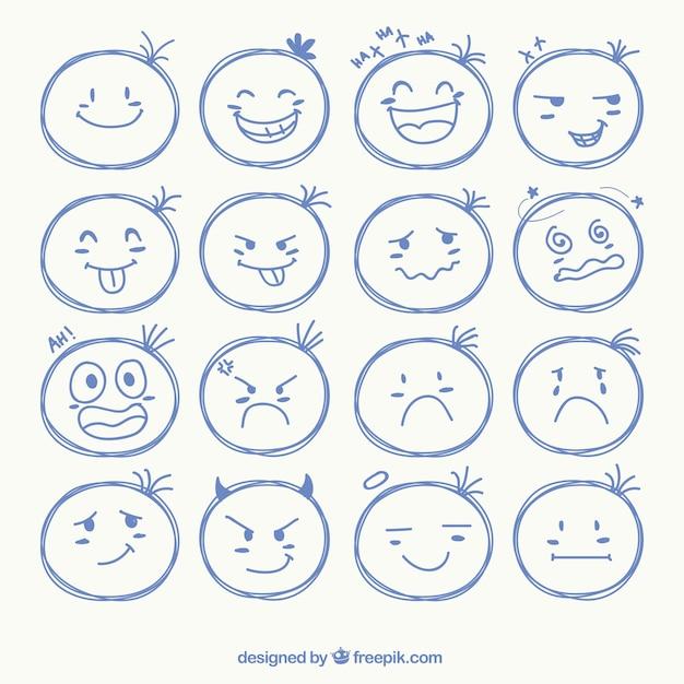 Schetsmatig gezicht iconen Premium Vector