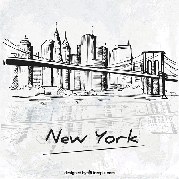 Schetsmatig new york city Gratis Vector