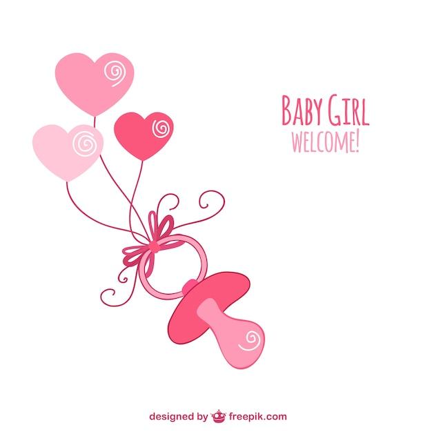 Schetsmatig roze fopspeen voor baby shower Gratis Vector