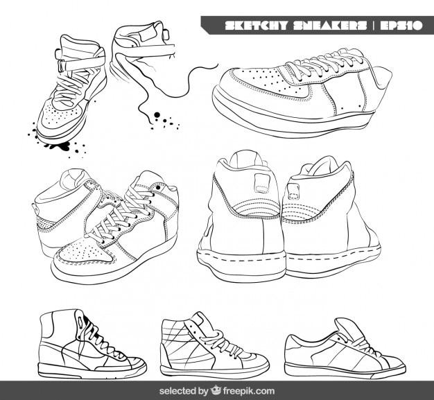 Schetsmatig sneakers collectie Gratis Vector