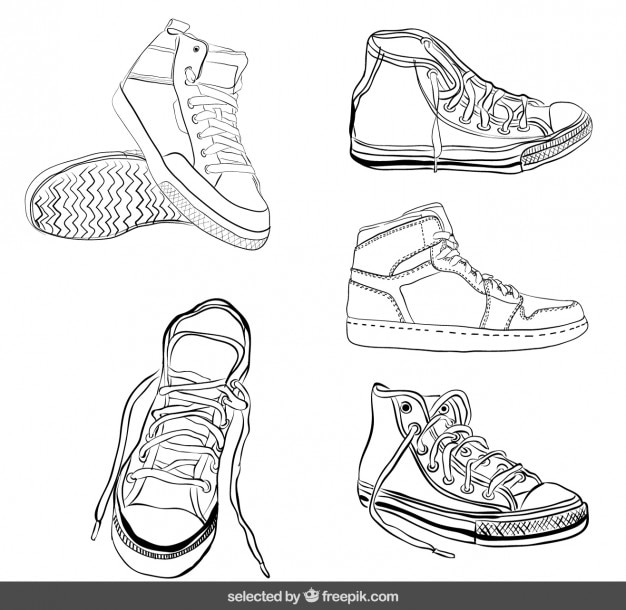 Schetsmatig sneakers set Gratis Vector