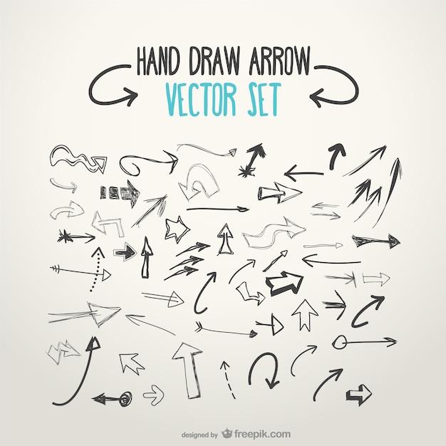 Schetsmatig vector pijlen Gratis Vector