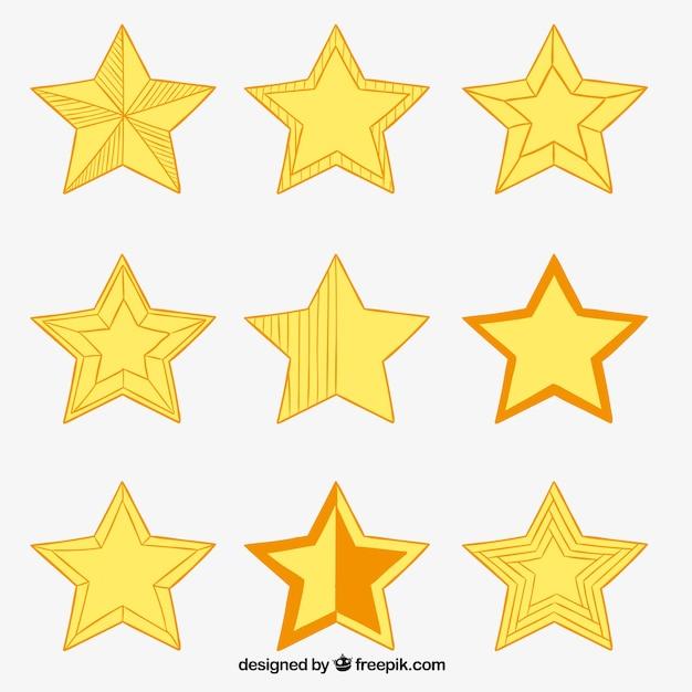 Schetsmatig yellos sterren Gratis Vector