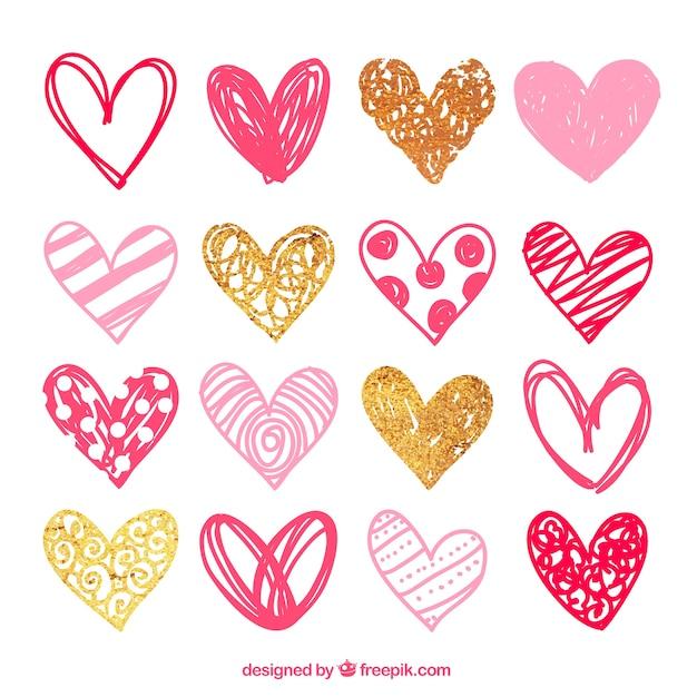 Schetsmatige roze hartjes pakken Gratis Vector