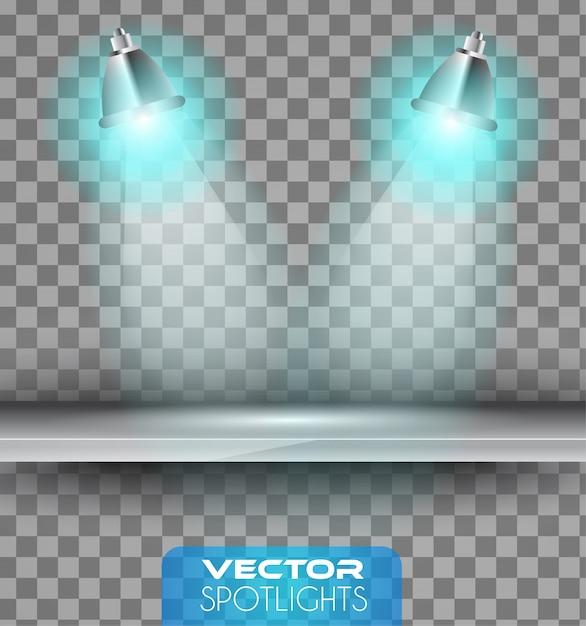 Schijnwerpersscène met verschillende lichtbron die naar de plank wijst Premium Vector