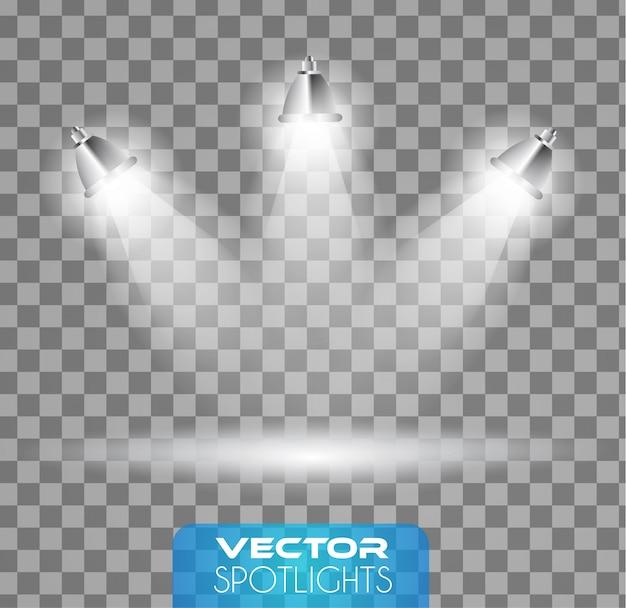 Schijnwerpersscène met verschillende lichtbron die naar de vloer wijst Premium Vector