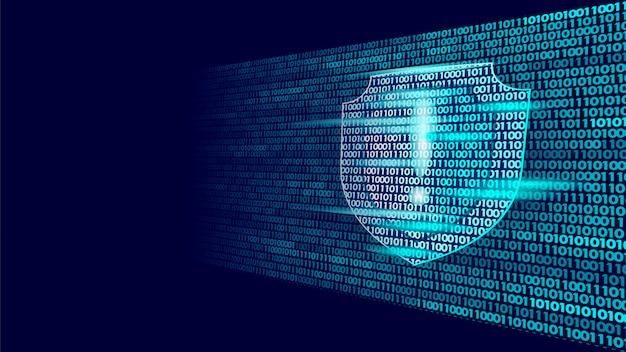 Schild bewaker veiligheidssysteem binaire codestroom, big data beveiliging Premium Vector
