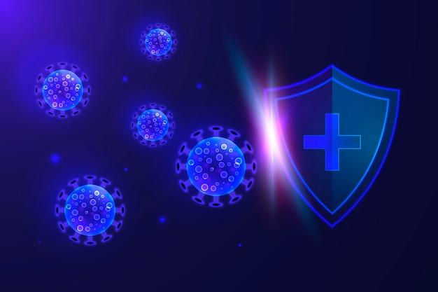 Schild en coronavirus achtergrond Gratis Vector