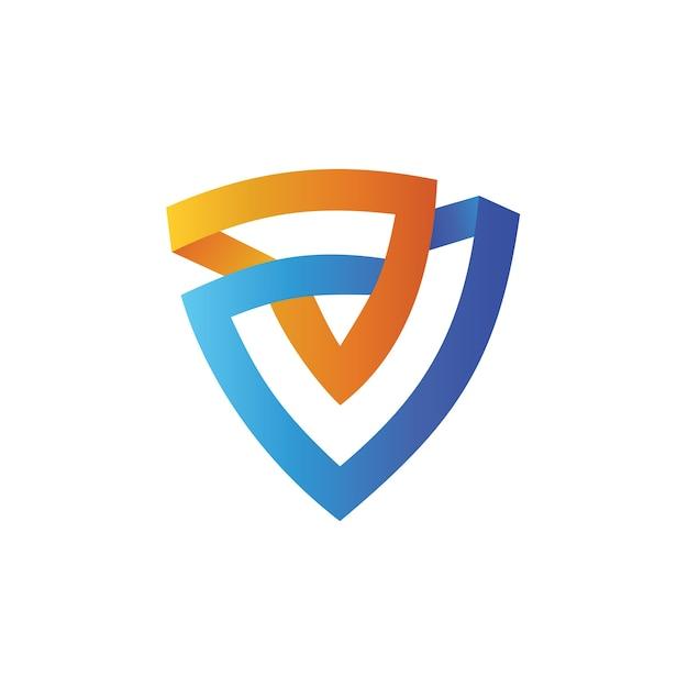Schild in driehoek vorm logo ontwerpsjabloon Premium Vector