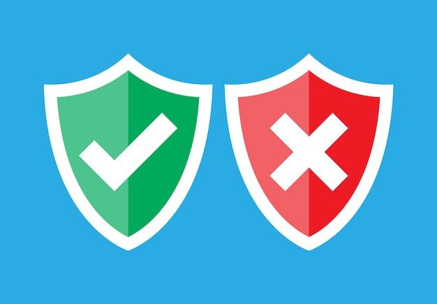Schilden en vinkjes. goedgekeurd en afgekeurd. rood en groen schild met vinkje en x-teken. Premium Vector