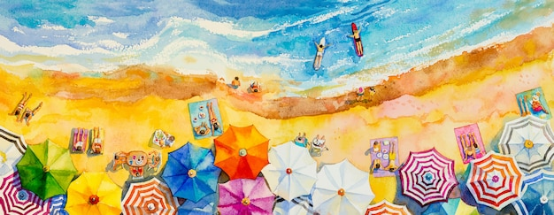 Schilderij aquarel zeegezicht bovenaanzicht kleurrijk van liefhebbers familie vakantie. Premium Vector