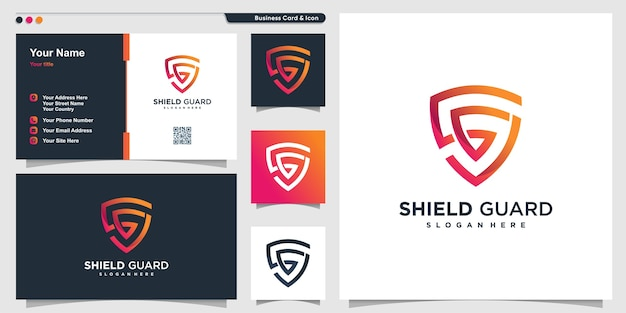 Schildlogo met modern lijntekeningenconcept en visitekaartjeontwerp Premium Vector