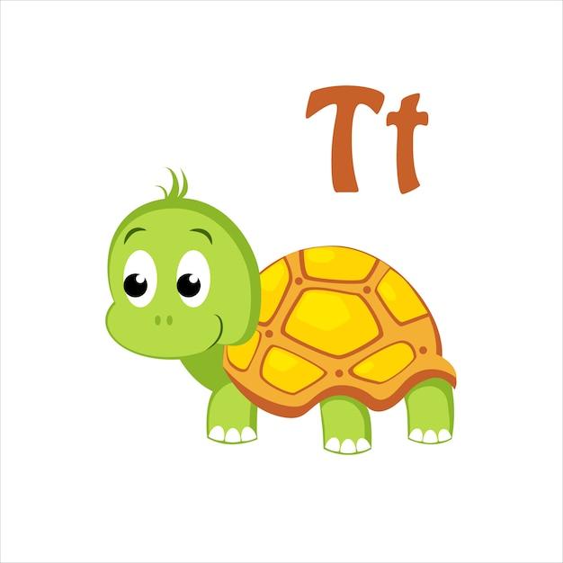 Schildpad. grappig alfabet, dier Premium Vector