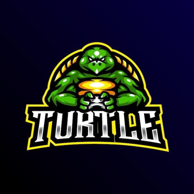 Schildpad mascotte logo gaming esport illustratie Premium Vector