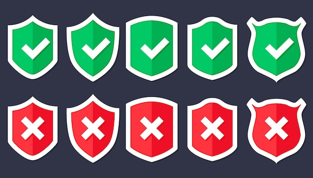 Schildpictogram in trendy vlakke stijl geïsoleerd, schild met een vinkje in het midden. bescherming pictogram concept websiteontwerp, logo, app, ui Premium Vector