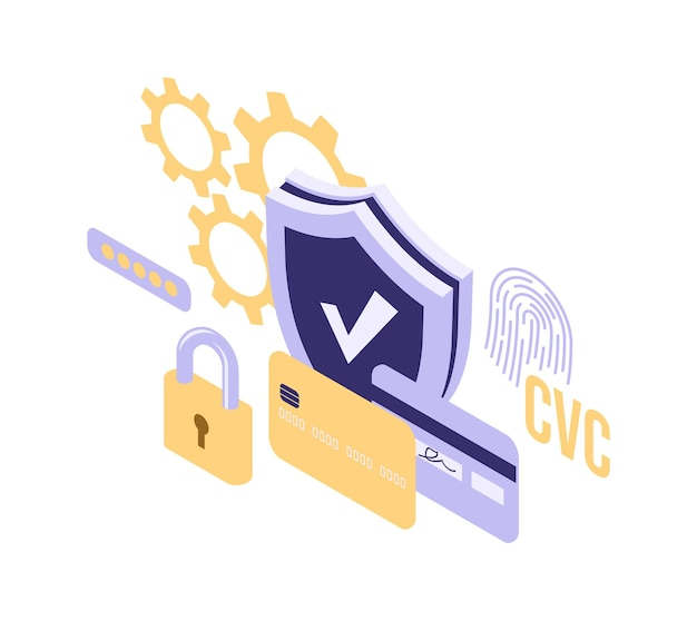Schildslot en creditcard isometrische pictogram geïsoleerde vectorillustratie, bescherming en veiligheid online betalingssymbool Gratis Vector