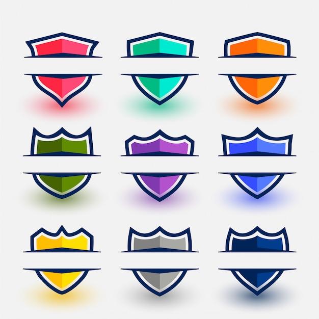 Schildsymbolen in sportstijl in negen kleuren Gratis Vector