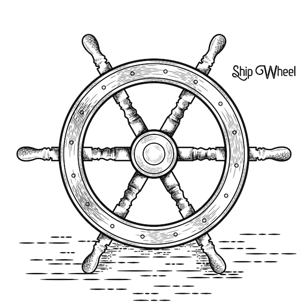 Schip stuurwiel vintage vectorillustratie Premium Vector