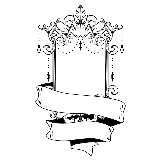 Schitterend barok frame met lege ruimte Premium Vector