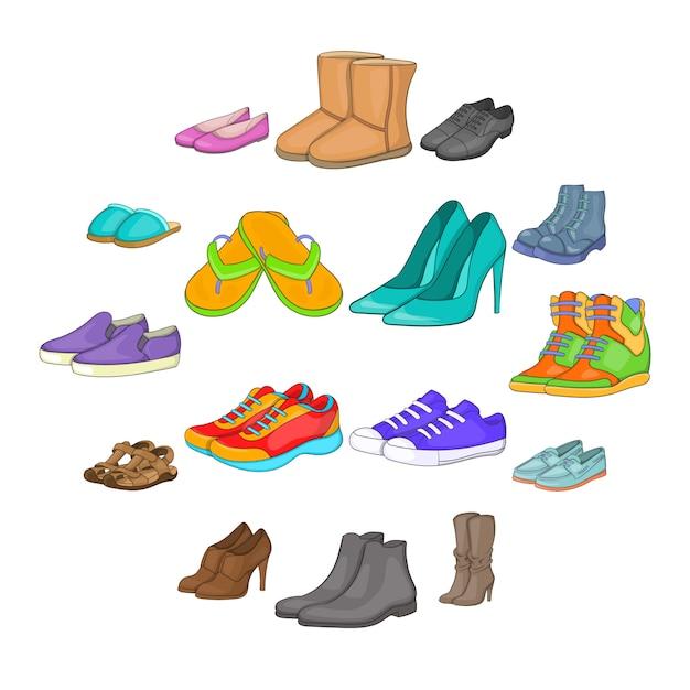 Schoen iconen set, cartoon stijl Premium Vector