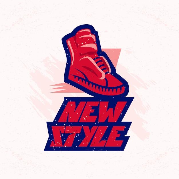 Schoen pictogram. merklogo van sportschoen. schoeisel symbool. boot sneaker teken. Premium Vector