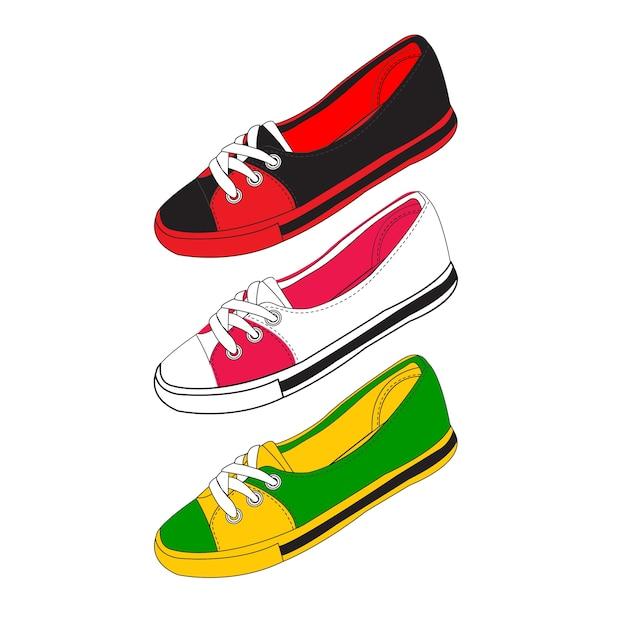 0ec25bd261242a Schoenen en schoenen vector materiaal. illustratie Premium Vector