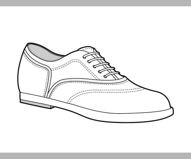 Schoenen mode platte technische tekening vector sjabloon