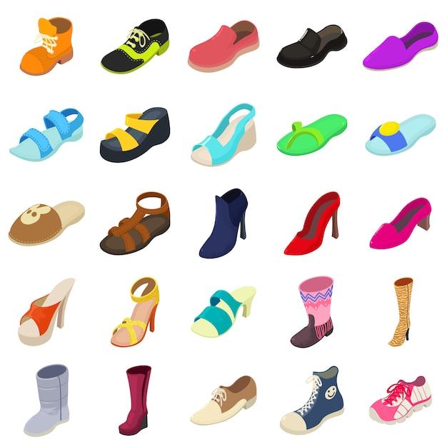 Schoenen mode typen pictogrammen instellen. isometrische illustratie van 25 schoenen fashion types vector iconen voor web Premium Vector